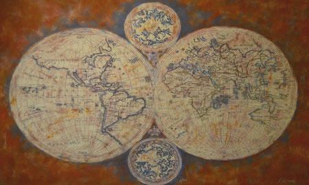 Carte Mappemonde inspiré d'une carte du XVIII ème Siècle (99x60)