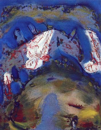 Rosebud, Öl auf Rupfen, 1995-96