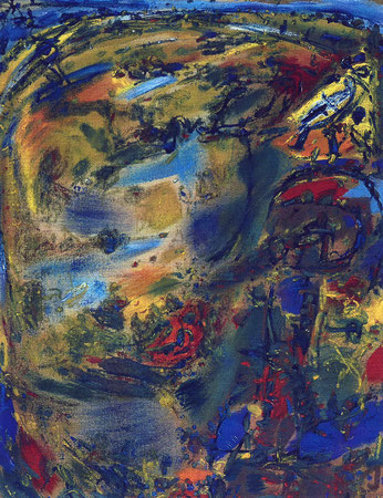 Steppenläufer 1, Öl auf Rupfen, 1995