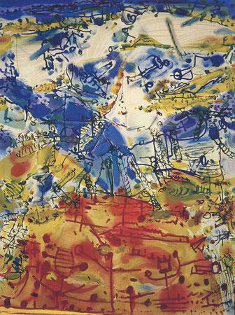 Optimistisches Bild, 1. Versuch, Öl auf Köper, 2000