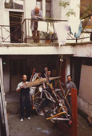 Bild-Raum Objekte im Atelier Türkenstrasse mit Heinz Weld, Heiko Herrmann und Armin Saub, 1979