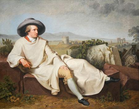 Retrato de Goethe en la campiña, pintado en 1787 en Roma por Johann Heinrich Wilhelm Tischbein (1751–1829).