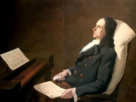 Pintura de Pergolesi, Pensativo, componiendo su famoso Stabat Mater