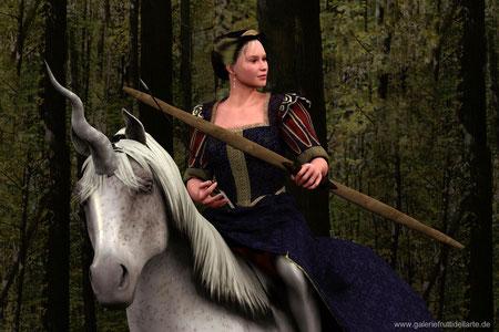 Das Mädchen mit dem Perlenohrring auf Pferd mit Bogen, Nahansicht
