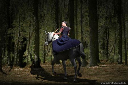 Das Mädchen mit dem Perlenohrring auf Pferd mit Bogen, Rückenansicht