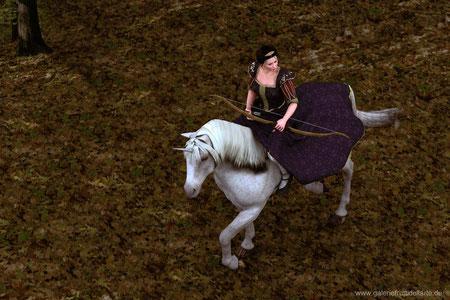Das Mädchen mit dem Perlenohrring auf Pferd mit Bogen, Top Ansicht