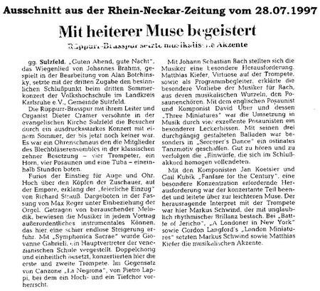 Rhein-Neckar Zeitung 28.07.1997