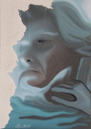 Titolo : In-finito   Tecnica: scanner - elaborazione digitale -  acrilico - stucco e colla vinilica su canvas;   Dimensione:  41 x 29   Anno : 2007