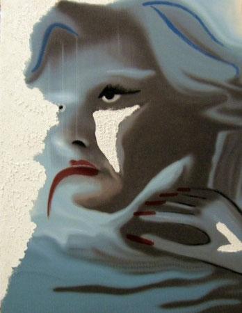 Titolo: In-finito (Passione)  Tecnica: scanner - elaborazione digitale – smalto –  acrilico - stucco e colla vinilica su poliestere  Dimensione: 60 x 78 . 2007