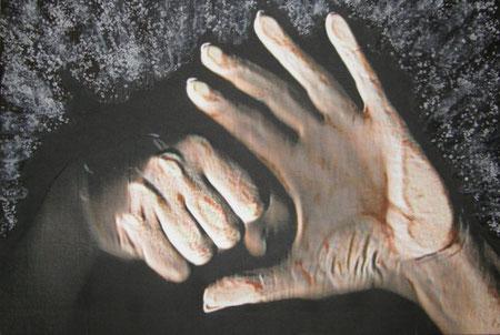 Titolo : evitiAmo  Dimensioni : 40 x 60  tecnica: scanner puro – olio – pomice – sale su canvas  anno . 2008