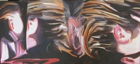 titolo : R - Umore   dimensione :  97 x 45  tecnica : scanner - elaborazione digitale - olio su canvas  anno : 2007