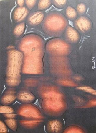 Titolo : caduta libera di natura morta  Dimensioni : 77 x 56  tecnica : scanner puro – acrilico su canvas  Anno : 2007