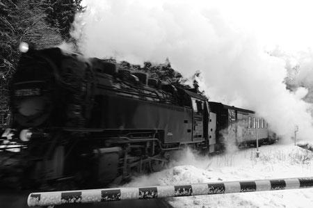 Die Brockenbahn zwischen Drei Annen Hohne und Elend/Schierke. Die Unschärfebereiche sind gewollt, um dem Bild mehr Dynamik zu verleihen.