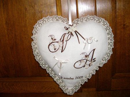 lN°25 in blanc bi, dentelle blanche, broderie chocolat/beige....30x30cm........40.€