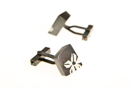 Manschettenknöpfe, schwarz rhodiniertes Silber und Kunstharz