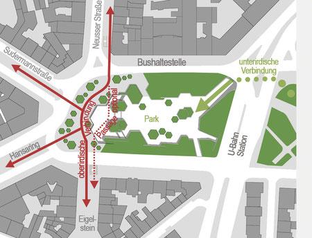 Fußwegverbindungen Konzept