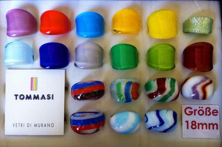 Murano Glasringe Größe 18mm, Abverkauf um 6,- pro Ring, manche Ringe sind Einzelstücke, manche sind mehrmals vorhanden