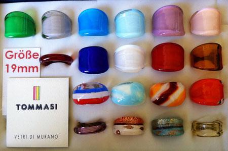 Murano Glasringe Größe 19mm, Abverkauf um 6,- pro Ring, manche Ringe sind Einzelstücke, manche sind mehrmals vorhanden