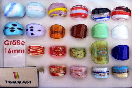 Murano Glasringe Größe 16mm, Abverkauf um 6,- pro Ring, manche Ringe sind Einzelstücke, manche sind mehrmals vorhanden