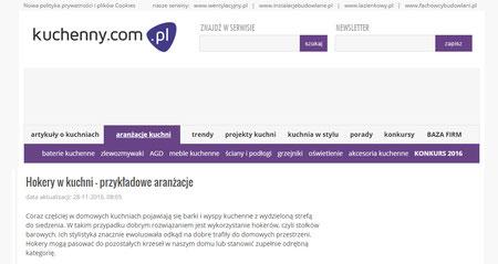 Hokery w kuchni przykładowe aranżacje. Publikacja na stronie www.kuchenny.com.pl projekty wnętrz