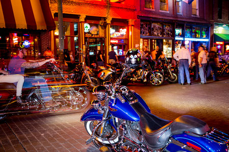 the Wednesday Night parade of bikes on Beale Street in Memphis