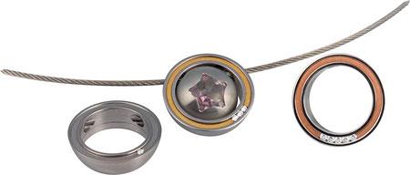 """Schmuckanhänger-Adapter Serie """"Orbit"""" - Edelstahl, 18kt. Gold, 1, 3 oder 5c 0,02ct. w-si / Kann mit den Anhängern der Serie Krokus, Sultan + No.10 kombiniert getragen werden (wie abgebildet)"""