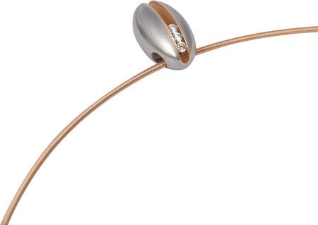 """Schmuckanhänger aus der Serie """"Peanut""""- Edelstahl + 18kt. Gold mit 3, 5 oder 7 x 0,02ct. w-si (auch als Ring erhältlich)"""