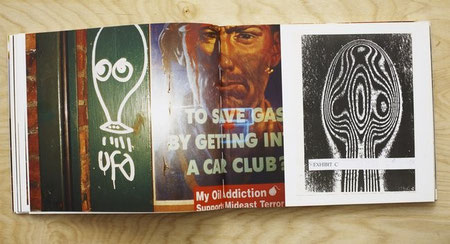 Photograph of alien graffiti outside a bar in Manhattan (left) and collage made from de-classified government papers (right).