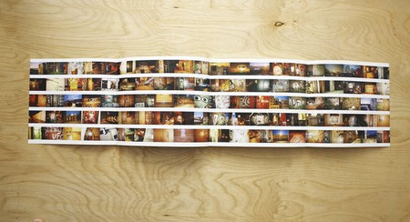 Double gatefold spread of images of UFO graffiti.