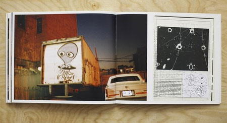 Photograph of alien graffiti on a delivery truck in Brooklyn (left) and collage made from de-classified government papers (right).