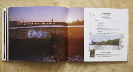 Photograph of alien graffiti on an abandoned pier in the East River (left) and collage made from de-classified government papers (right).