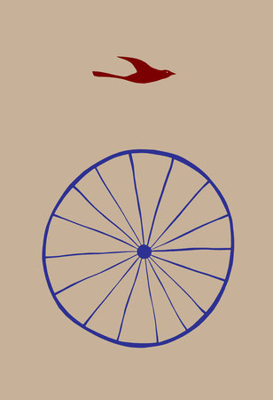 "Wheel Bird 2005.  Digital print, edition of twenty, signed and numbered.  Image size 7 x 5"".  Paper size 11 x 8.5""."