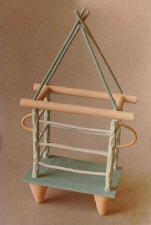 """Untitled basket 1980, acrylic on ceramic, Ht. 10"""""""