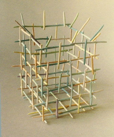 Untitled basket 1979, acrylic on ceramic, Ht. 5""