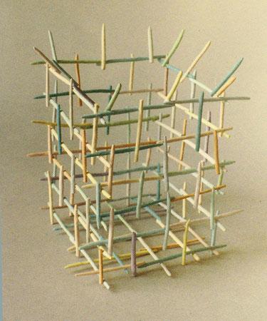 """Untitled basket 1979, acrylic on ceramic, Ht. 5"""""""