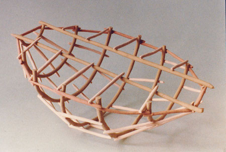 Untitled basket 1980, acrylic on ceramic, Ht. 4""