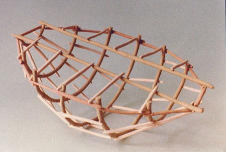 """Untitled basket 1980, acrylic on ceramic, Ht. 4"""""""
