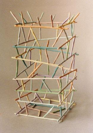 """Untitled basket 1979, acrylic on ceramic, Ht. 8"""""""
