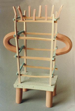 """Untitled basket 1980, acrylic on ceramic, Ht. 11"""""""