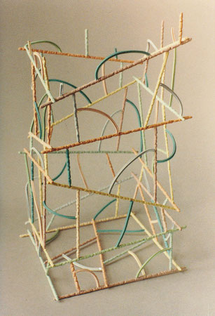 Untitled basket 1979, acrylic on ceramic and pasta, Ht. 10""