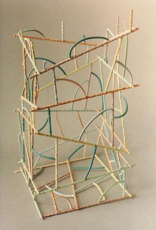 "Untitled basket 1979, acrylic on ceramic and pasta, Ht. 10"""