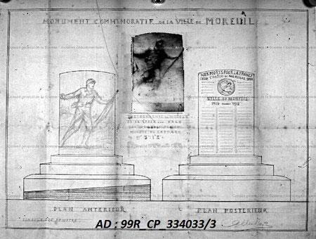 Projet du monument avec photographie de l'ébauche du relief sculpté