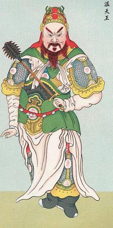 Wen, le roi céleste. — De plus, nous trouvons sans cesse dans les récits de batailles entre génies, les quatre grands rois qui sont aux ordres de Yu-hoang   ; or Yu-hoang est devenu le Jupiter moderne du taoïsme, quelle que soit son origine première.