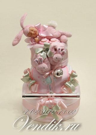 """Торт из памперсов """" Розовые сны """" (Коллекция """"Изящные подарки"""" ) VIP  подарок новорожденной девочке."""