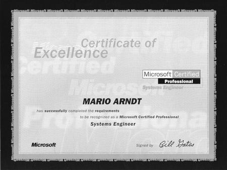Die Prüfungen zum Microsoft Certified Engineer für Windows NT 4 bestanden (2000)