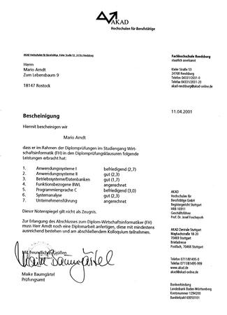 Ergänzungsstudiengang zum Diplom-Wirtschaftsinformatiker (FH), Prüfungen abgelegt außer Diplomarbeit und Kolloquium. Ich bin dann etwas später in den Master-Studiengang Praktische Informatik an der FernUni Hagen eingestiegen.