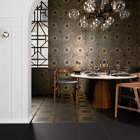 APARICI ART-DECO BLACK SPRITZ #aparici #tiles #tilestyle #inspiration #decoration #fliesen #interiordesign #interiors #walldecoration #dahofawoas #emanuelhofer