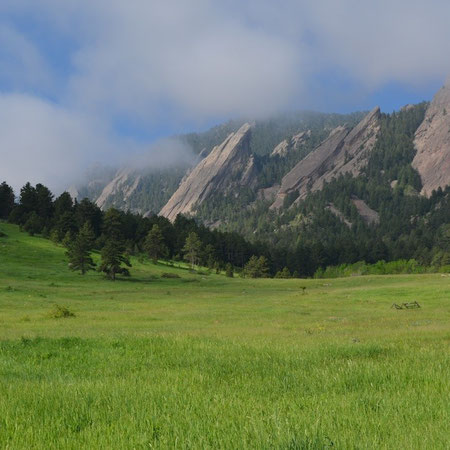 The iconic Boulder Flatirons, the Front Range of the Rocky Mountains where the prairie meets the mountains, Photo credit: Amy Mundinger