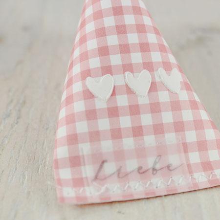 Minikarte, Karte, Herzchen, Valentinstag, Vichykaro rosa-weiß, Sourcreamcontainer, Geschenkverpackung