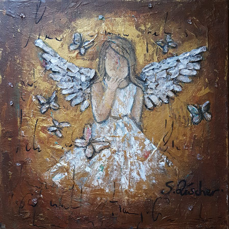 Guardianangel-Engel der tiefen Verbundenheit, Acryl Mischtechnik mit Bergkristalle auf  Leinwand, Format 30x30 cm -bereits vergeben
